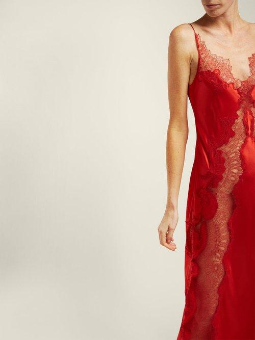 Photo of Lace Insert Silk Satin Slip Dress by Carine Gilson - shop Carine Gilson online sales
