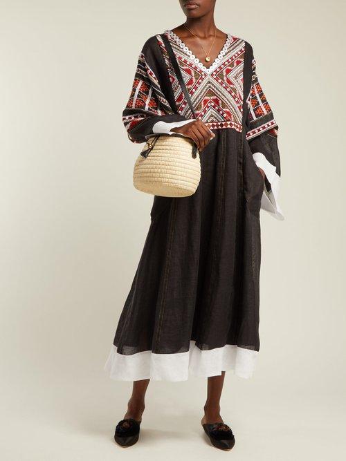 Malta embroidered linen midi dress by Vita Kin