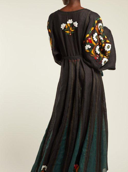 Magnolia round-neck linen midi dress by Vita Kin