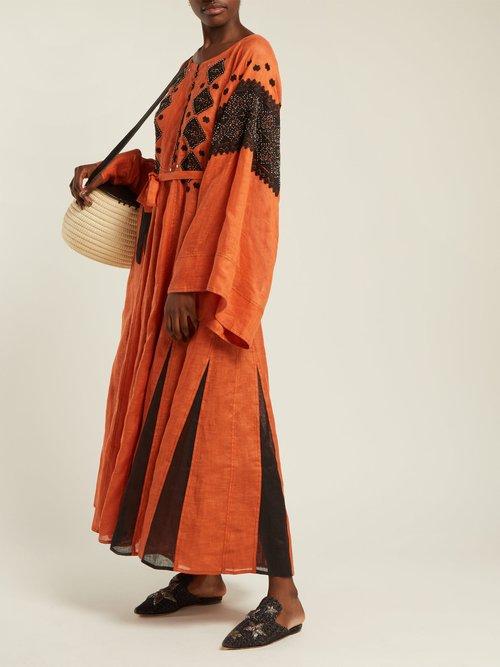 Mirror embroidered linen maxi dress by Vita Kin