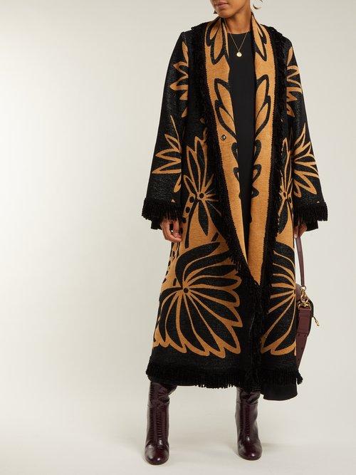 Photo of Palm Intarsia Tasselled Cotton Coat by Marit Ilison - shop Marit Ilison online sales