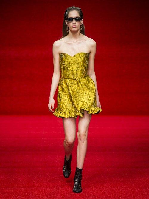 Golde Floral Jacquard Strapless Mini Dress by Emilio De La Morena