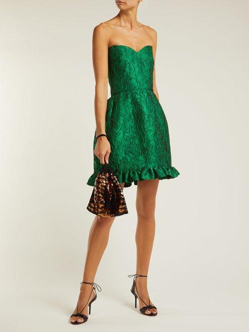 Golde floral-jacquard strapless mini dress by Emilio De La Morena