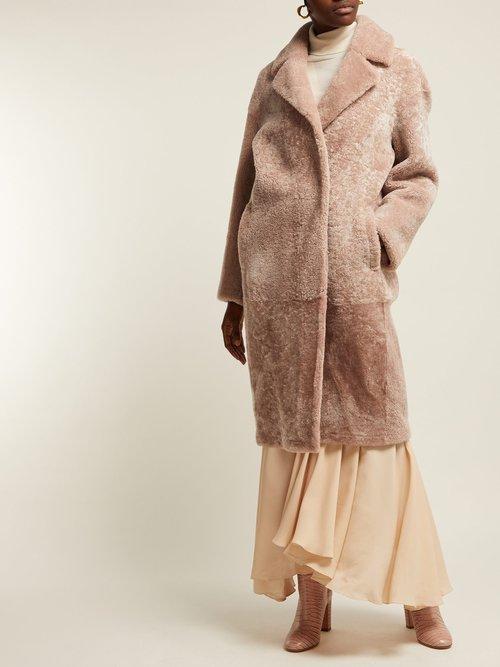 Marina Reversible Single Breasted Shearling Coat by Giani Firenze