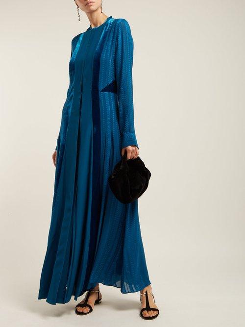 Justina Velvet Panel Silk Dress by Zeus + Dione