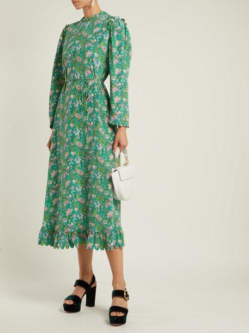 Vestia printed silk crepe de Chine midi dress by Horror Vacui