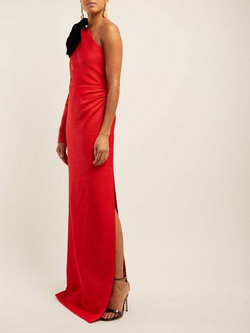Asymmetric Bow Silk Blend Jacquard Gown by Rebecca De Ravenel