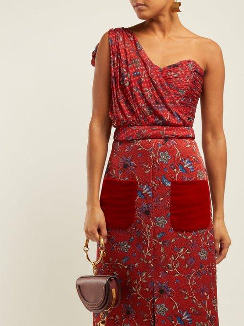 Dotty Print One Shoulder Silk Bustier Top by Rebecca de Ravenel