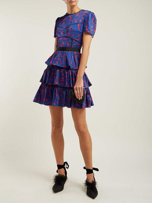 Tiered Satin Dress by Self-Portrait