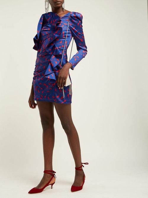 Ruffled Off The Shoulder Satin Mini Dress by Self-Portrait