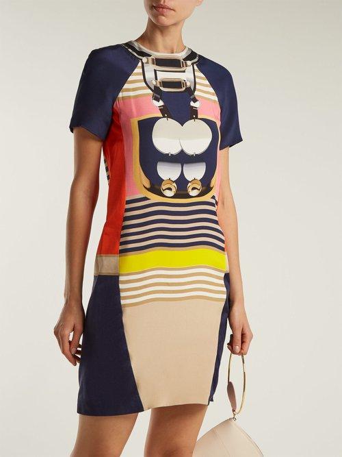 Graphic Print Crepe Mini Dress by Mary Katrantzou