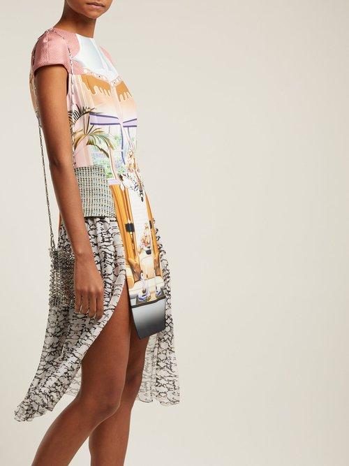 Pe11 Print Crepe And Chiffon Mini Dress by Mary Katrantzou