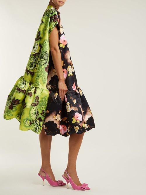 Floral Print Satin Midi Dress by Richard Quinn