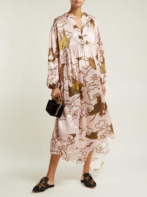 Print Silk Satin Dress by By Walid
