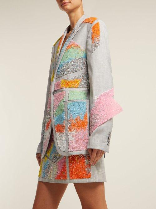 Bead Embellished Twill Blazer by Germanier