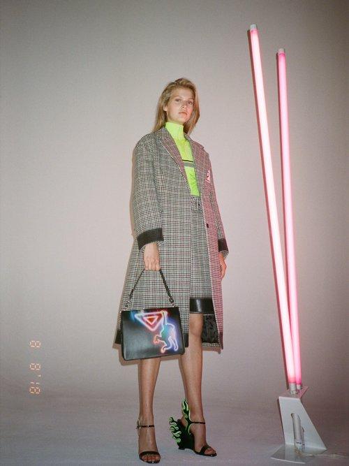 Bow Trim Houndstooth Wool Blend Coat by Prada