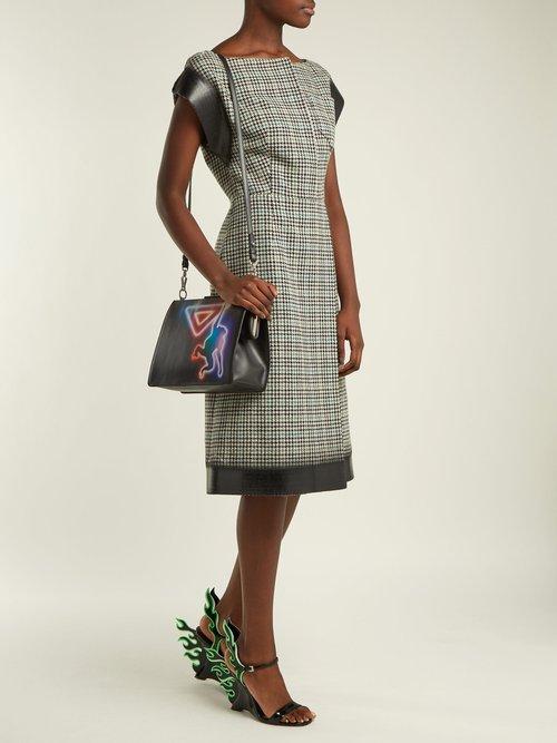 Houndstooth check wool-blend tweed dress by Prada