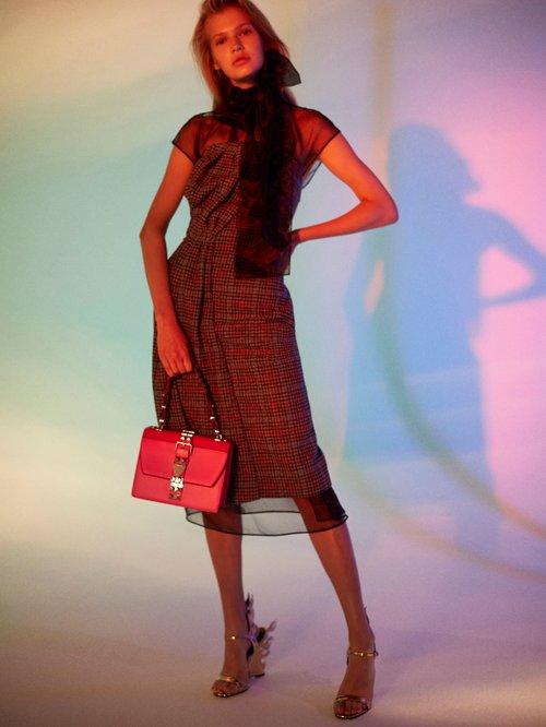 Strapless Houndstooth Wool Blend Dress by Prada