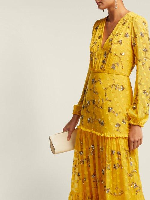 Devon Sequinned Silk Georgette Dress by Saloni