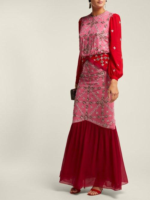 Isa Sequinned Silk Georgette Dress by Saloni