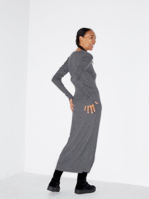 Deep V Fine Rib Cashmere Dress by Raey