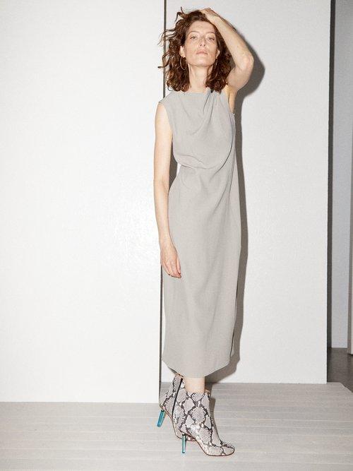 Cowl-neck crepe midi dress by Raey