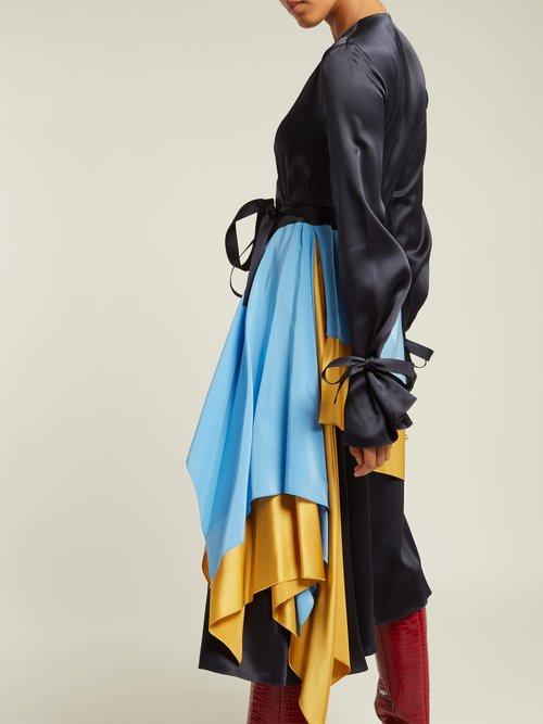Layered Silk Satin Wrap Dress by Roksanda