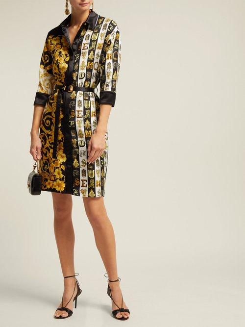 Photo of Baroque Print Silk Twill Shirtdress by Versace - shop Versace dresses online sales