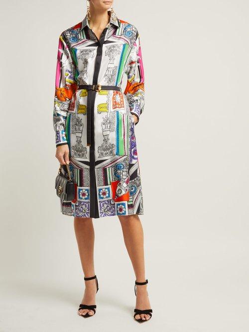 Temple Print Silk Satin Shirtdress by Versace