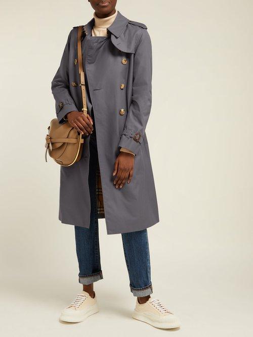 Kensington Long Cotton Gabardine Trench Coat by Burberry