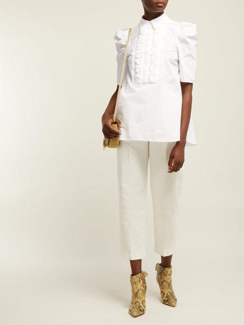 Ruffled Bib Cotton Shirt by