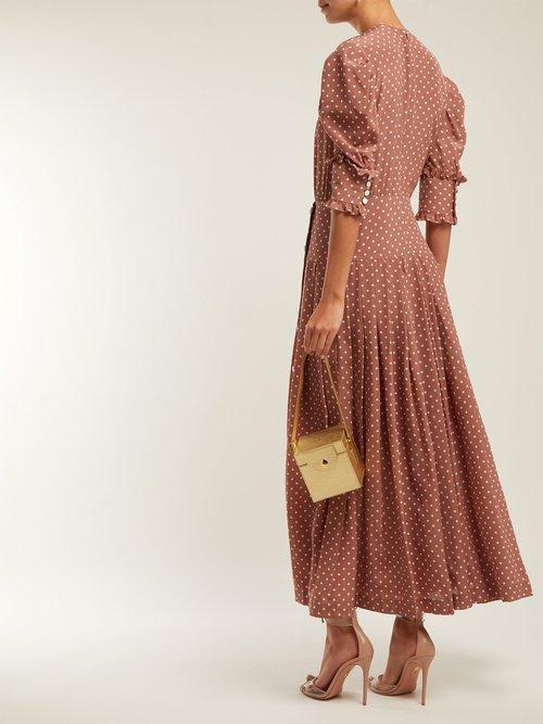 Polka Dot Print Pleated Silk Dress by Alessandra Rich