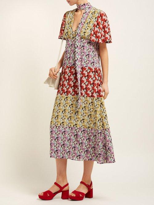 Spring Garden Print Silk Midi Dress by Valentino