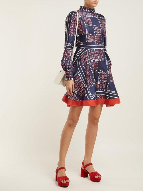 Puzzle Print Silk Twill Mini Dress by Valentino