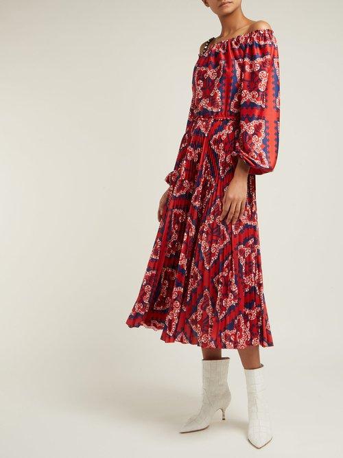 Off The Shoulder Bandana Print Jersey Midi Dress by Valentino
