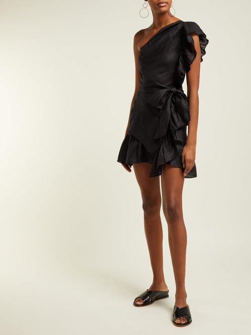Teller One Shoulder Frill Mini Dress by