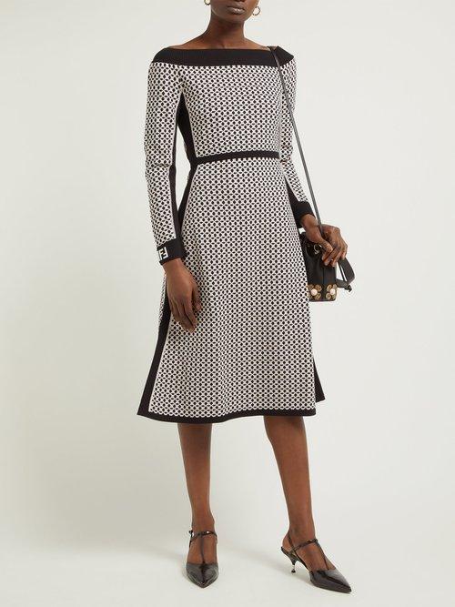 Romantic Tile Jacquard Midi Dress by Fendi