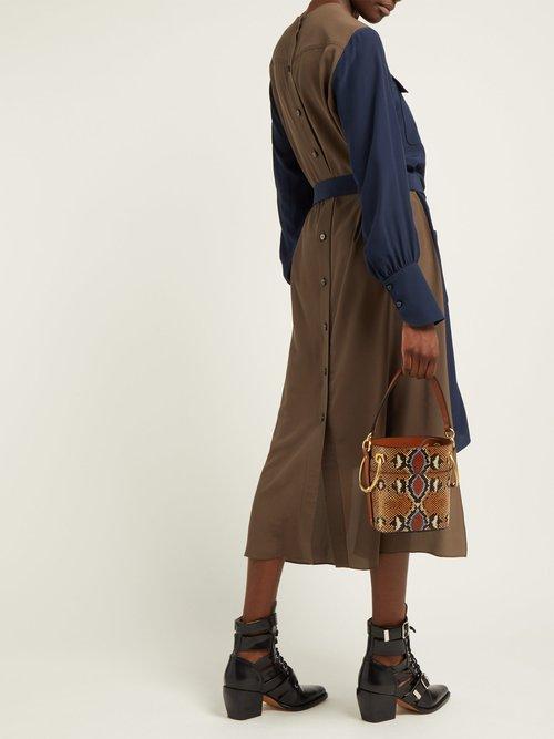 Panelled Silk Crepe De Chine Midi Dress by