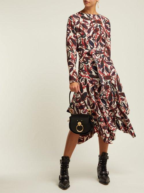 Paisley Print Silk Crepe De Chine Midi Dress by