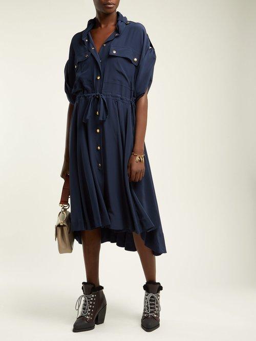 Tie Waist Crepe Midi Dress by