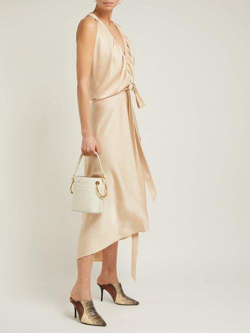 V Neckline Gathered Satin Midi Dress by