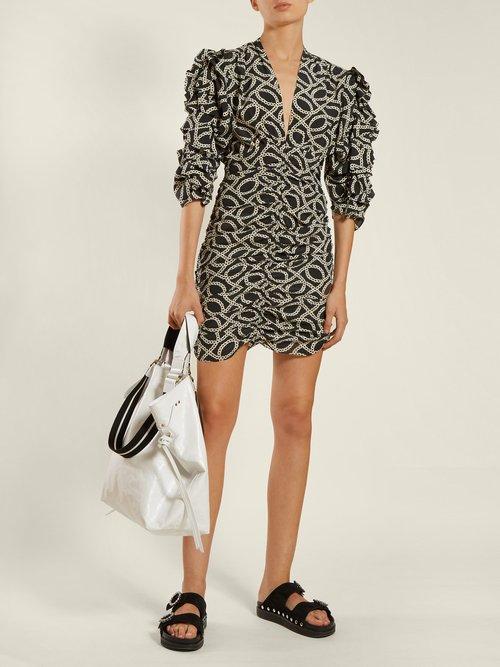 Andor Cog Print Stretch Silk Crepe Mini Dress by Isabel Marant