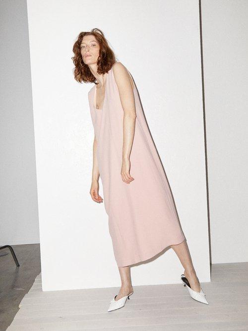 V Neck Crepe Pinafore Dress by Raey