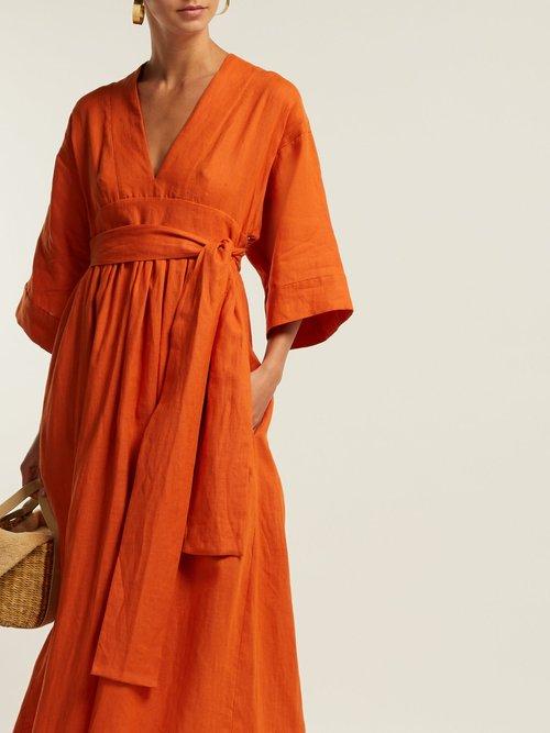 Ferrers Tie Waist Linen Dress by Three Graces London