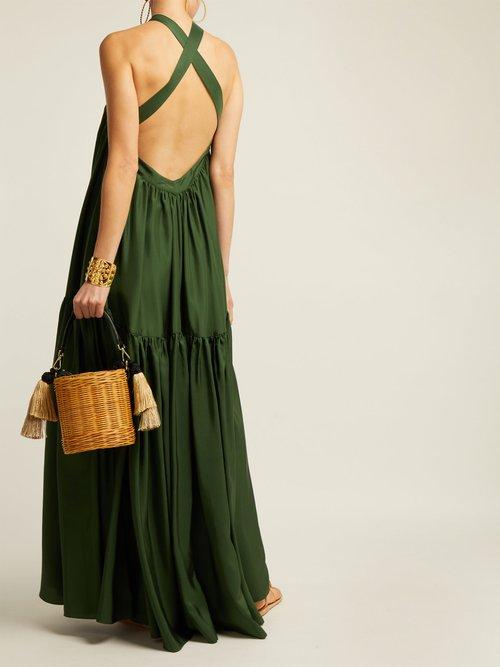 Dollie Cross Back Silk Maxi Dress by Three Graces London