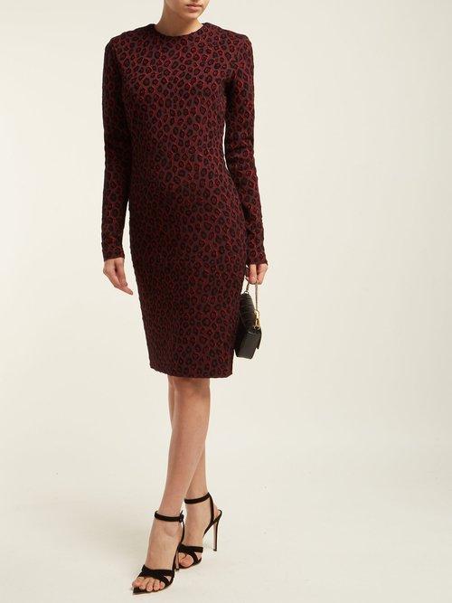 Leopard Print Jacquard Midi Dress by Givenchy