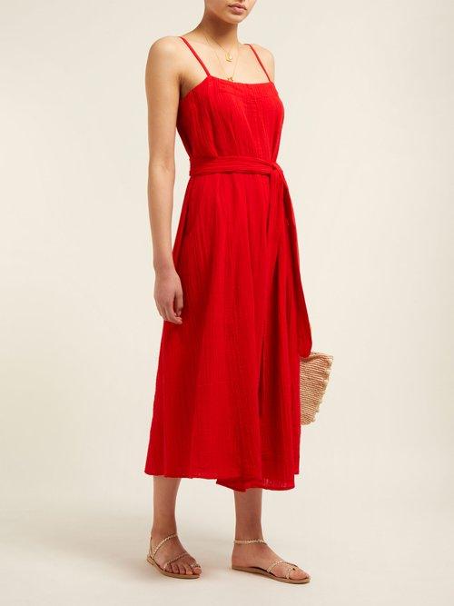 Philomena Gathered Cotton Gauze Midi Dress by Mara Hoffman