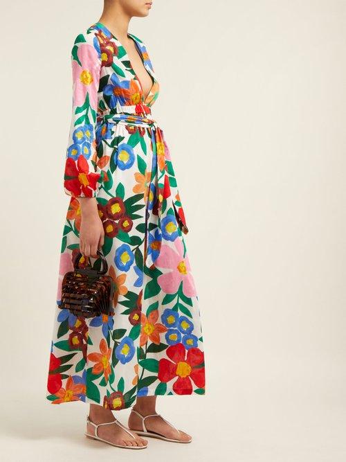 Luna Floral Print V Neck Maxi Dress by Mara Hoffman