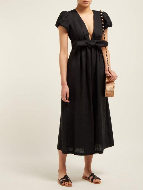 Savannah Puff Sleeve Hemp Midi Dress by Mara Hoffman