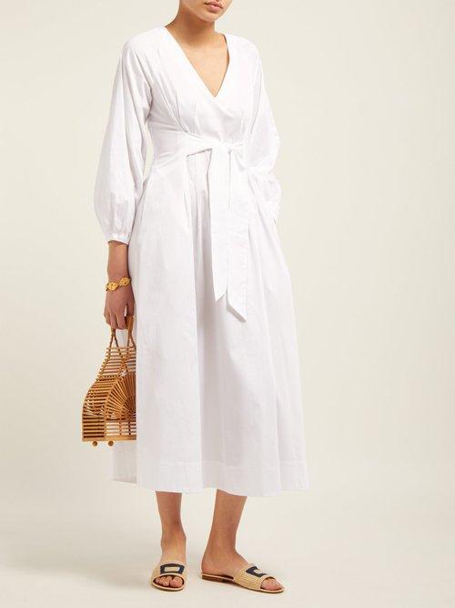 Vivica Tie Front Cotton Midi Dress by Mara Hoffman